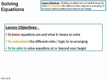 Algebra: Solving Equations (linear) 1 - Introduction (+ resources)