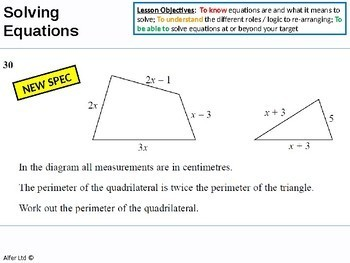Algebra: Solving Linear Equations 3 - Perimeter & Other Problems