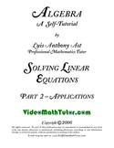 Algebra: Solving Linear Equations - Part 2: Applications