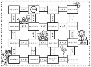 Algebra Solving Multi Step Equations with Distributive Property Maze