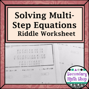 Multistep Equations Fun Worksheets Teaching Resources Teachers Pay