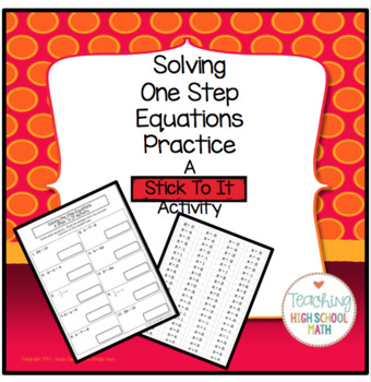 Algebra Solving One Step Equations - A Stick To It Activity