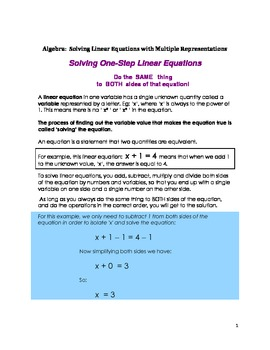 Algebra: Solving One-Step Linear Equations