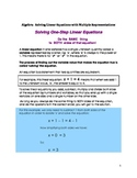 Algebra: Solving One-Step Linear Equations