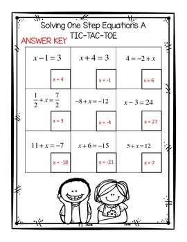 Algebra Solving One and Two Step Equations Tic Tac Toe with QR Codes