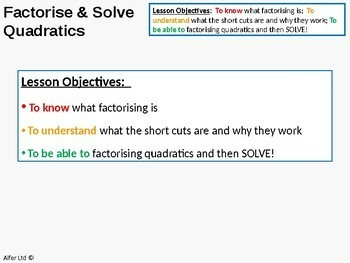 Algebra: Solving Quadratic Equations 1 - by Factorising