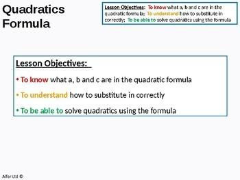 Algebra: Solving Quadratic Equations 2 - by Formula (+ resources)