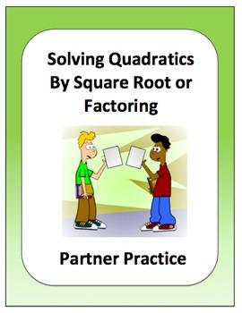 Algebra: Solving Quadratic Equations Partner Review