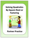 Algebra: Solving Quadratic Equations Partner Review