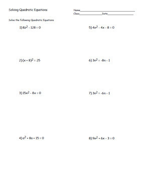 Algebra Solving Quadratics Flip Book