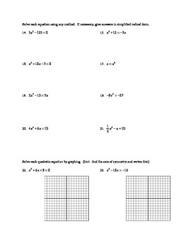 Algebra - Solving Quadratics Worksheet (Quadratic Equations)