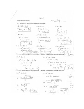Algebra Solving Quadratics Worksheet Quadratic Equations By P Dot