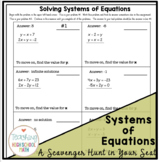 Algebra Solving Systems of Equations Scavenger Hunt in Your Seat