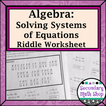 Solving Systems Of Linear Equations Practice Riddle Worksheet Tpt