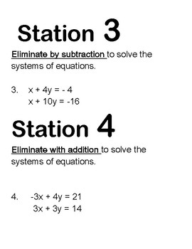 Algebra Solving Systems of equations Review/Stations and Test