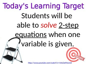 Algebra- Solving Two Step Equations with One Variable
