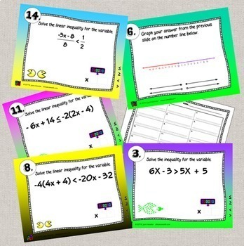 Algebra Solving and Graphing Inequalities Digital Task Cards with GOOGLE slides