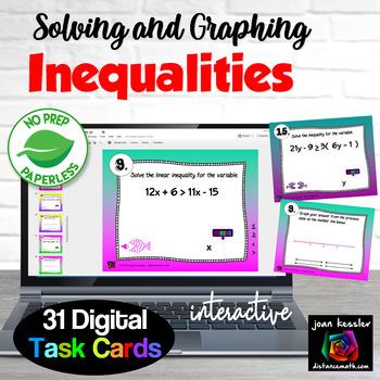 Algebra Solving and Graphing Inequalities Digital Task Car