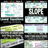 Algebra Sorting Activity Bundle