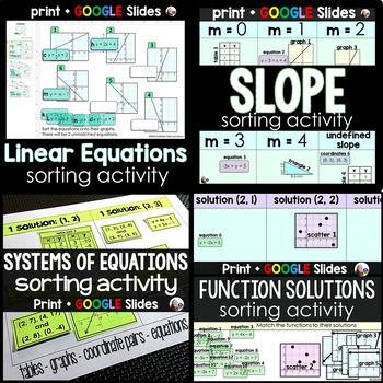 Algebra Sorting Activity Bundle (slope, y=mx+b, functions,