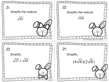 Algebra Spring and or Easter Review Task Cards