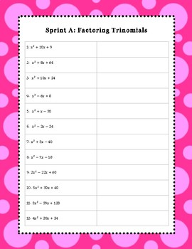 Algebra Sprint 9: Factoring Trinomials