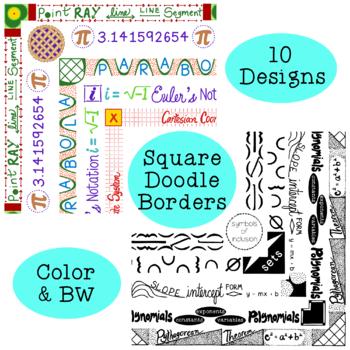 Algebra Square Doodle Borders Clip Art PNG JPG Blackline Commercial Personal