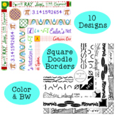 Algebra Square Doodle Borders Clip Art Black and White Color Commercial Personal