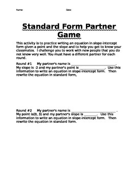 Algebra Standard form Linear Equation Partner Game Common Core
