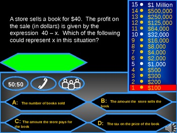 Algebra Standardized Test Review Who wants to be a Millionaire GAME