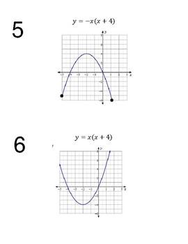Algebra Stations - Describing Characteristics of Quadratics from Graphs & Tables