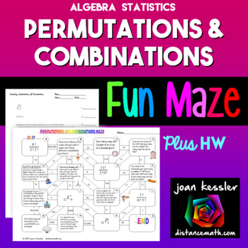 Algebra Statistics Combinations Permutations FUN Maze plus Quiz - HW