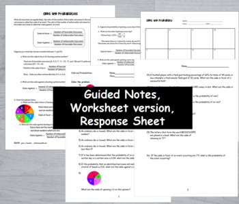 Algebra Statistics  Odds and Probability  Task Cards Guided Notes