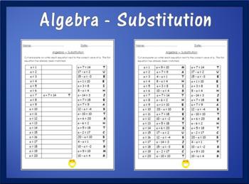 Algebra Worksheet - Substitution