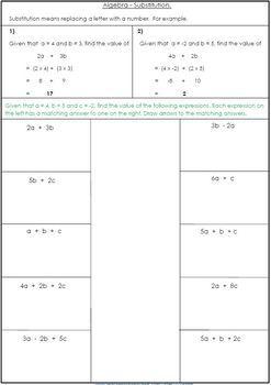 Algebra Worksheets - Substitution
