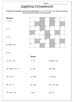 Algebra Substitution Crossword Activity 3 Levels