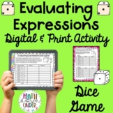 Algebra Evaluating Expressions (Substitution) Dice Game
