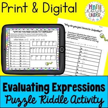 Algebra Evaluating Expressions (Substitution) Puzzle