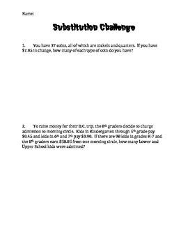 Algebra: Substitution Word Problems