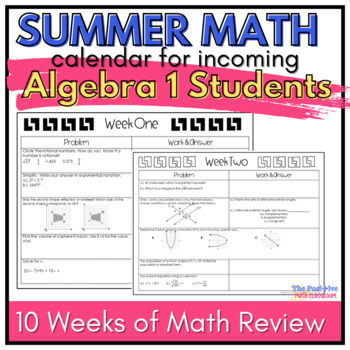 Algebra Summer Math Review Calendar: 7 Weeks of  Common Core Problems