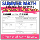 Algebra Summer Math Review Calendar: 7 Weeks of  Common Co