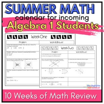 Algebra Summer Math Review Calendar: 7 Weeks of  Common Co