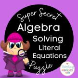 Algebra Super Secret Number Puzzle Solving Literal Equations