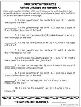 Algebra Super Secret Number Puzzles - Writing Equations of Lines