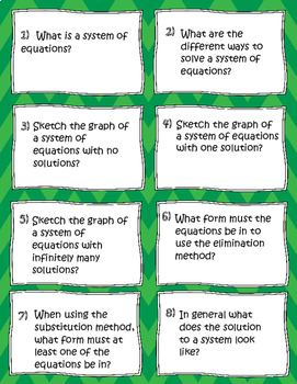 Algebra Systems Questions Mini Task Cards