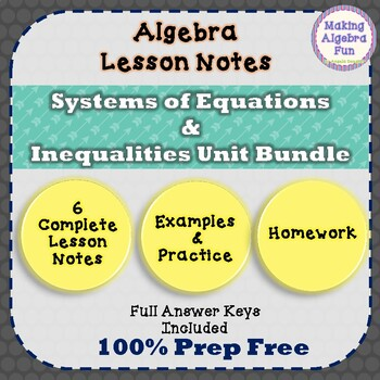 Systems of Equations Unit Notes Practice Homework Quiz Test & Study Guides