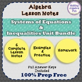 Algebra Systems of Equations Lesson Notes Practice Homewor