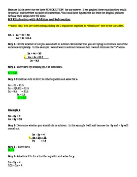 Algebra : Systems of Equations Notes for Teacher and Students - Printable