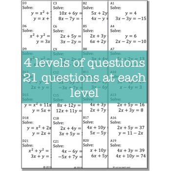 Systems of Equations (Algebra: TEAM CHALLENGE task cards)