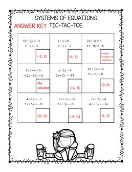 Algebra Systems of Equations Tic Tac Toe QR Codes FREEBIE!